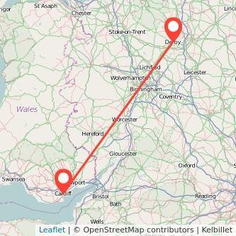 Derby Cardiff train map