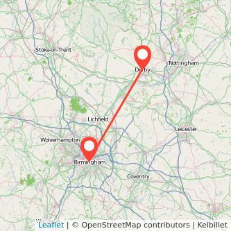 Derby Birmingham bus map