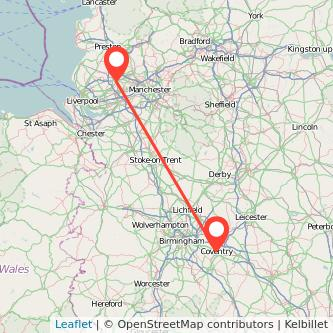 Coventry Wigan train map