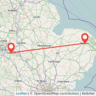 Coventry Norwich train map