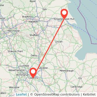 Coventry Hull train map