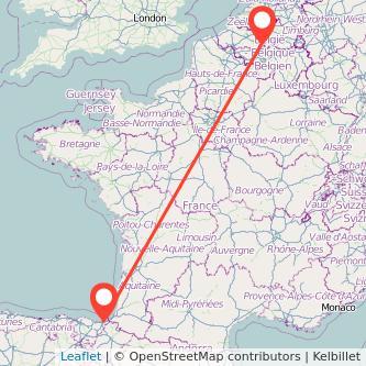 Mapa del viaje Bruselas San Sebastián en tren