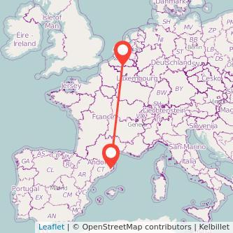 Mapa del viaje Bruselas Girona en tren
