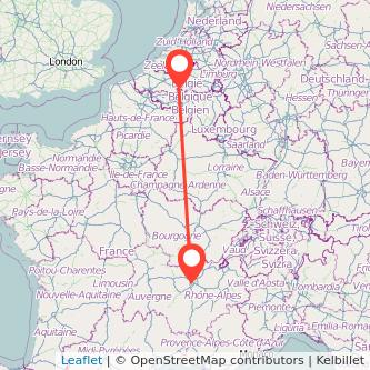 Brussels Lyon bus map