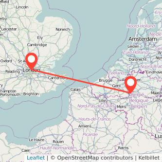 Brussels London bus map