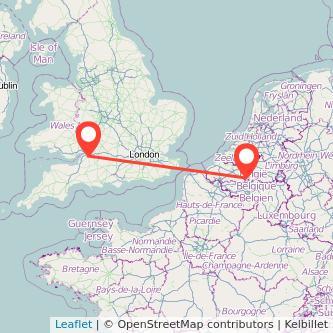 Brussels Bristol train map