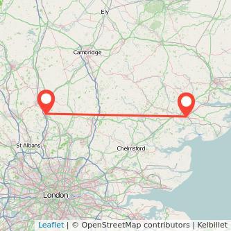 Colchester Stevenage train map