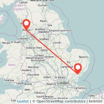 Colchester Preston train map