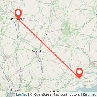 Colchester Peterborough train map