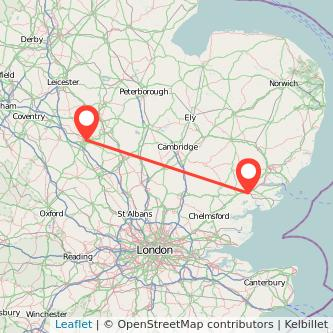 Colchester Northampton train map