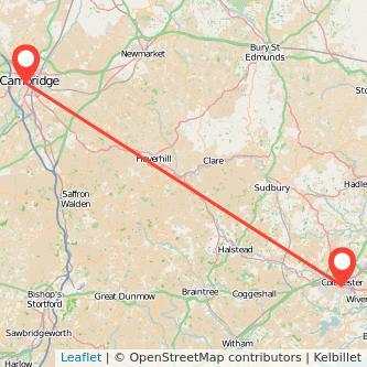 Colchester Cambridge bus map
