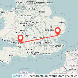Colchester Bristol train map