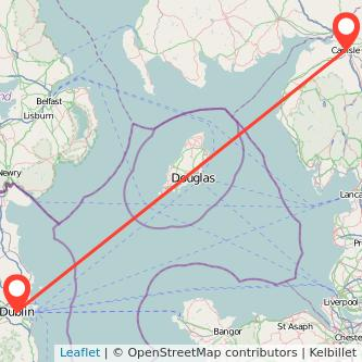 Carlisle Dublin flight map