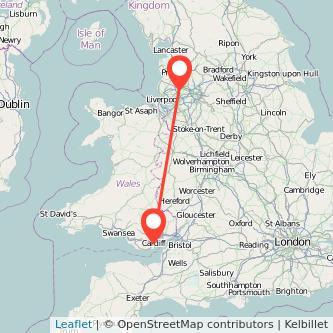 Cardiff Wigan train map