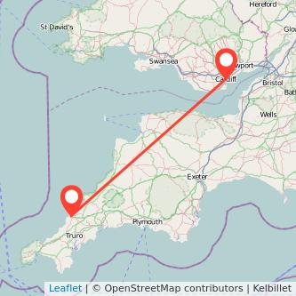 Cardiff Newquay bus map