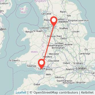 Cardiff Manchester train map