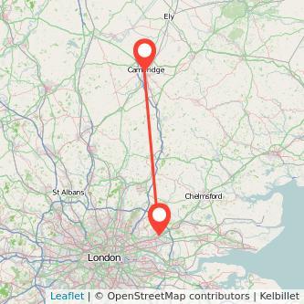 Cambridge Romford train map