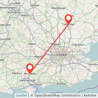 Cambridge Winchester train map