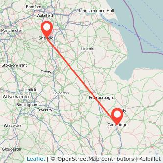 Cambridge Sheffield train map