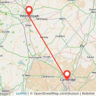 Cambridge Peterborough train map