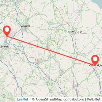 Cambridge Nuneaton train map