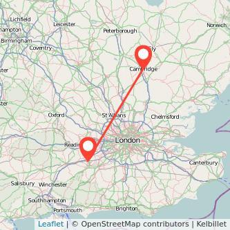 Cambridge Farnborough train map