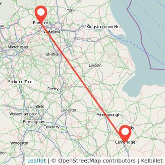 Cambridge Bradford train map