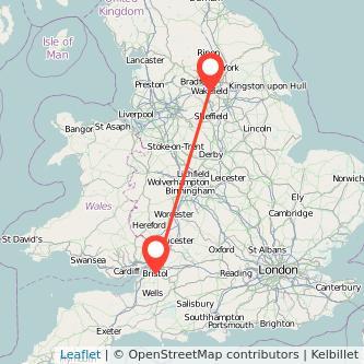 Bristol Wakefield train map