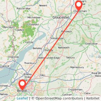 Bristol Cheltenham bus map