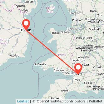 Bristol Dublin flight map