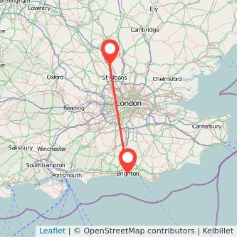 Brighton Luton bus map
