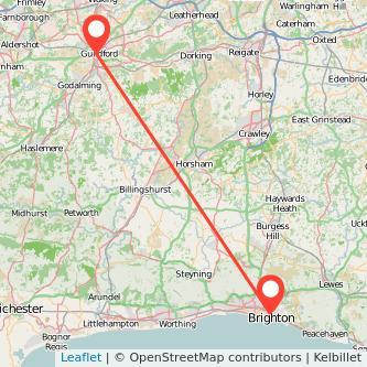 Brighton Guildford bus map