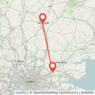 Brentwood Cambridge train map