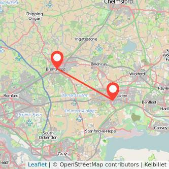 Brentwood Basildon train map