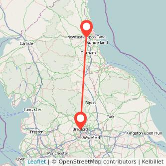 Bradford Newcastle upon Tyne train map