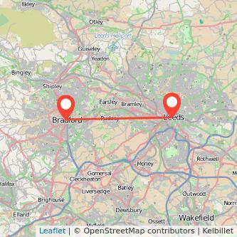 Bradford Leeds bus map