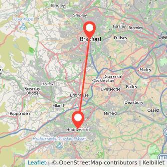Bradford Huddersfield bus map