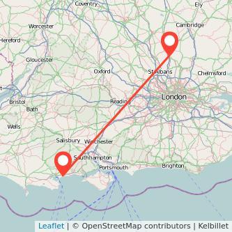 Bournemouth Stevenage train map