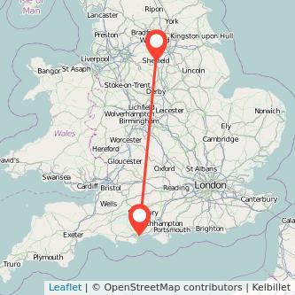 Bournemouth Sheffield train map
