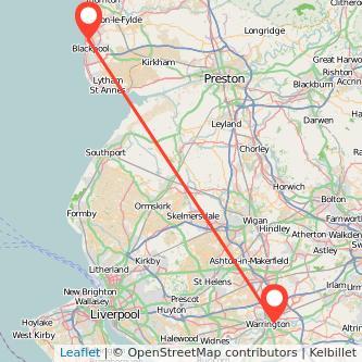 Blackpool Warrington train map