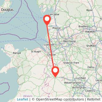 Blackpool Shrewsbury train map