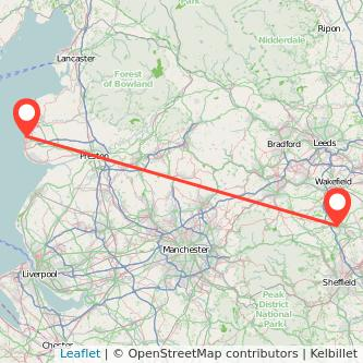 Blackpool Barnsley bus map