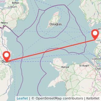 Blackpool Dublin flight map