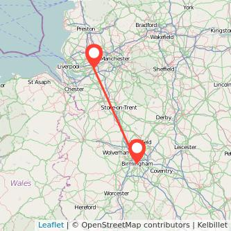 Birmingham Warrington train map