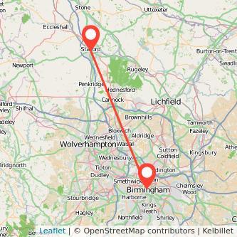 Birmingham Stafford train map