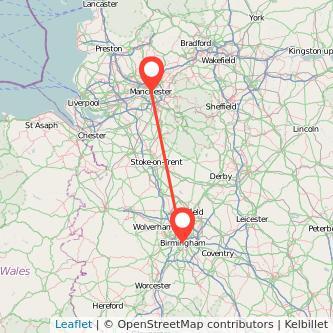 Birmingham Manchester bus map