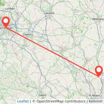 Birmingham Hitchin train map
