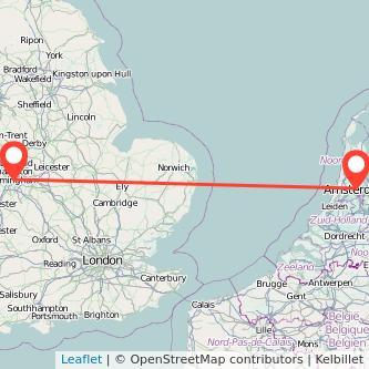 Birmingham Amsterdam train map