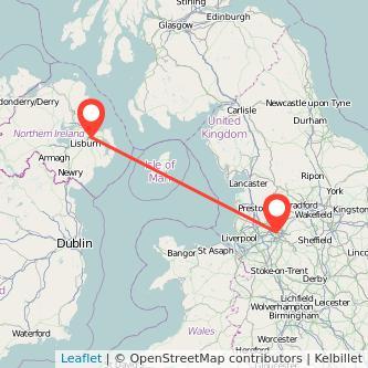 Belfast Manchester flight map