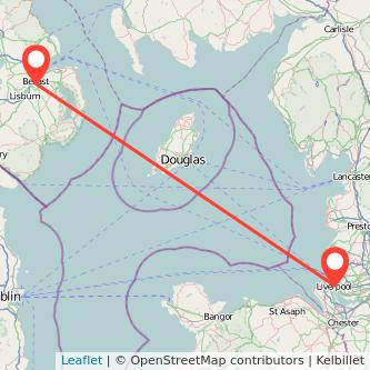 Belfast Liverpool flight map